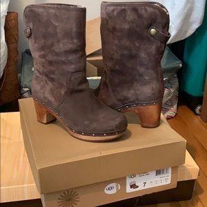 Ugg Sherpa heeled boots. Size 7